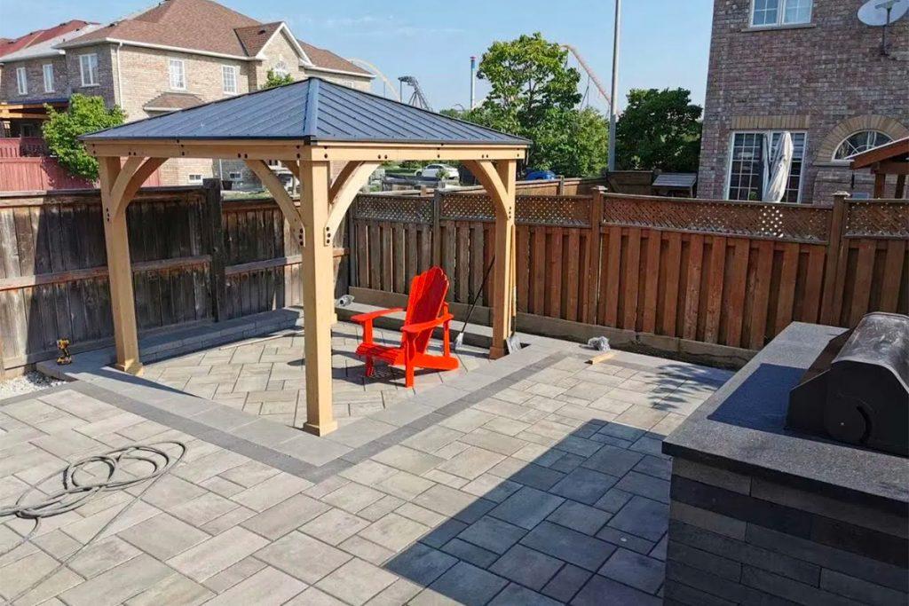 Vaughan旺市后院铺砖亭台搭建